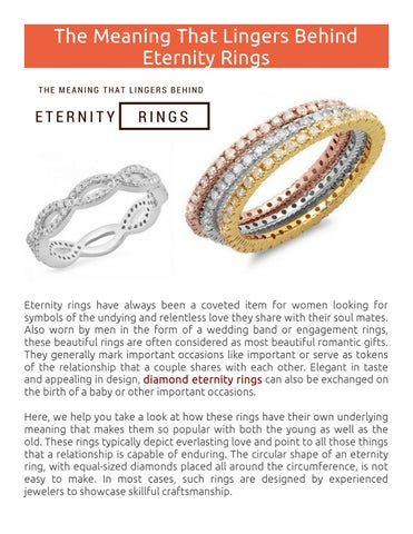 Page 1 The Meaning That Lingers Behind Eternity Rings