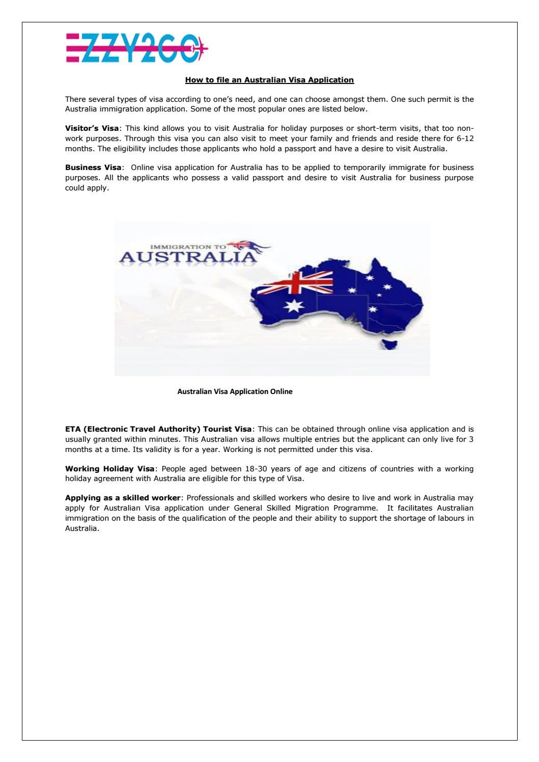 How To File An Australian Visa Application By Ezzy2go Issuu