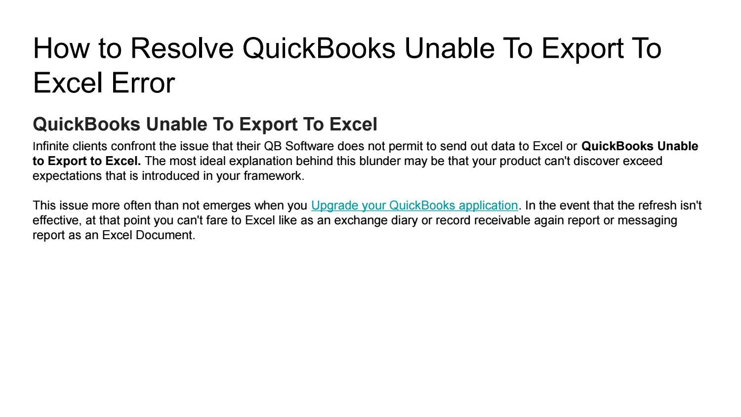 How to resolve quickbooks unable to export to excel error by