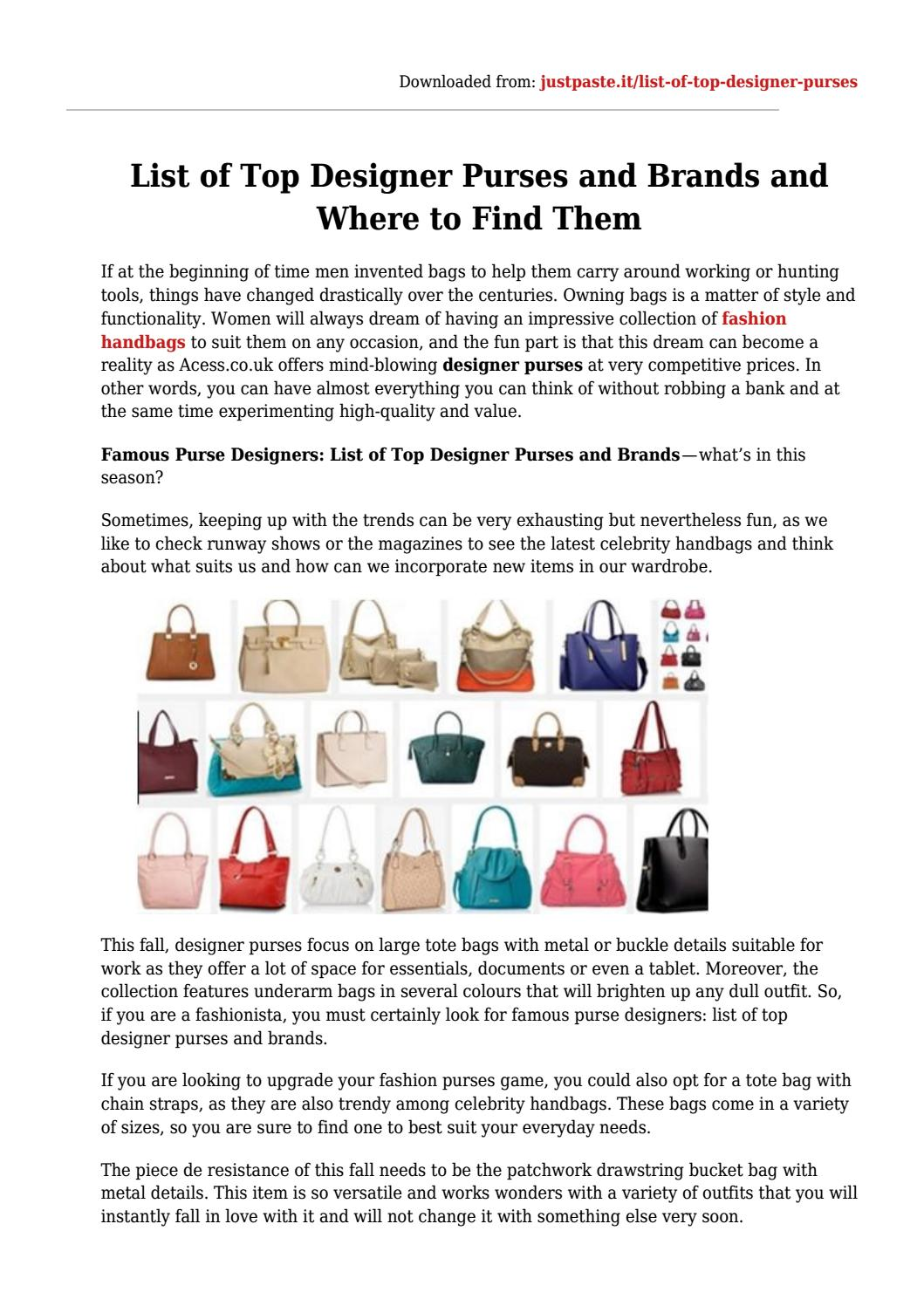 8b5c5818f0 List of top designer purses and brands and where to find them by Acess -  issuu