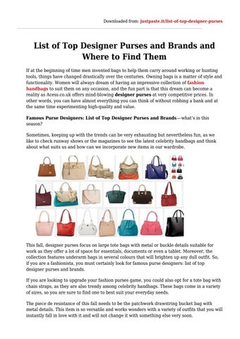 List of top designer purses and brands and where to find them by ... 42e3f5983a1f2