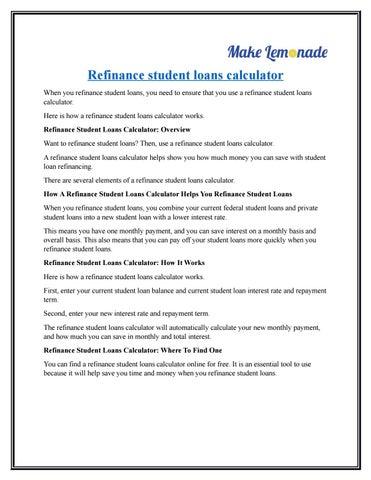 Refinance Student Loans >> Refinance Student Loans Calculator By Tom Jackson Issuu
