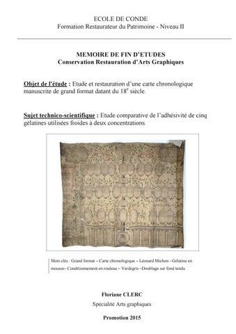 Floriane CLERC Etude Et Restauration Dune Carte Chronologique Manuscrite De Grand Format