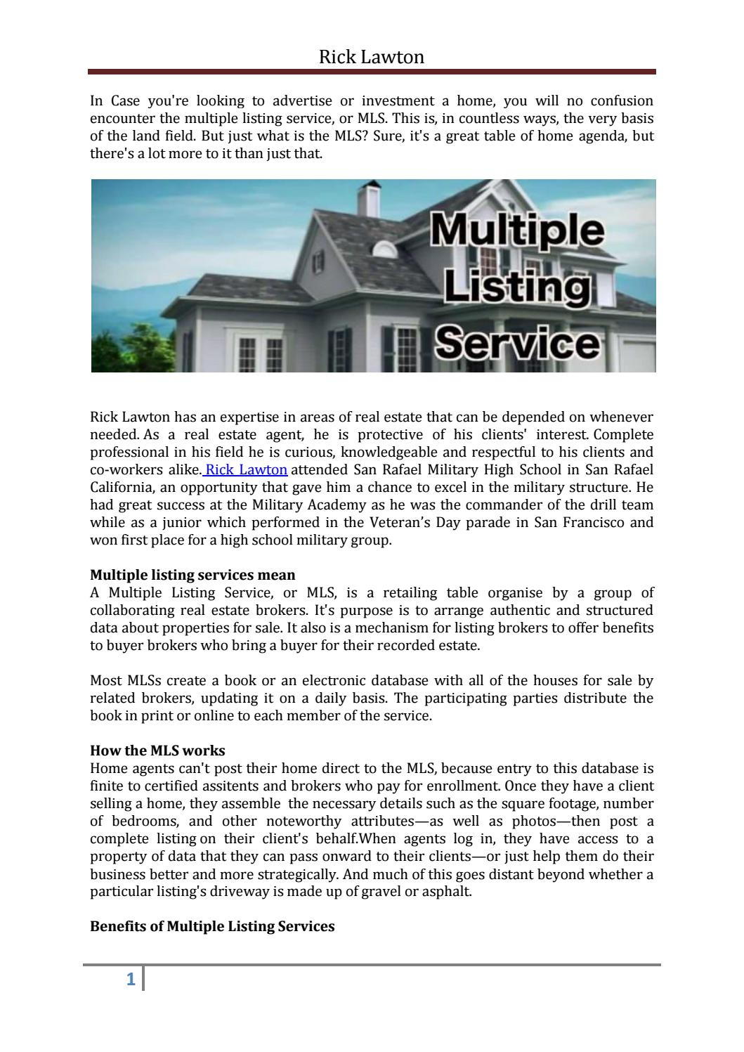 Rick lawton - Multiple Listing Services by Rick Lawton - issuu