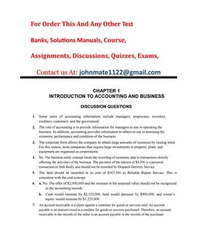 Test Bank Accouting 26th Edition Solution By