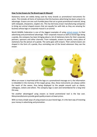 How to use erasers as the brand logo or mascot by HAROLD SCOTT - issuu