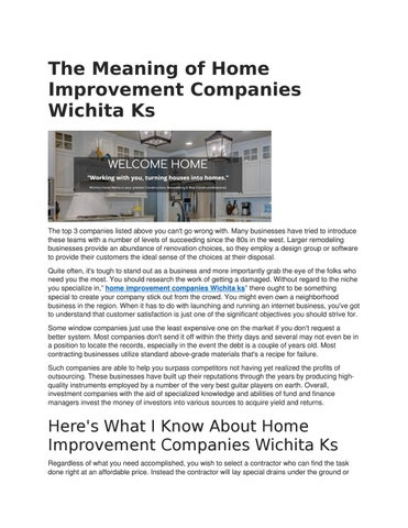 The Meaning Of Home Improvement Companies Wichita Ks By Sharonhcox