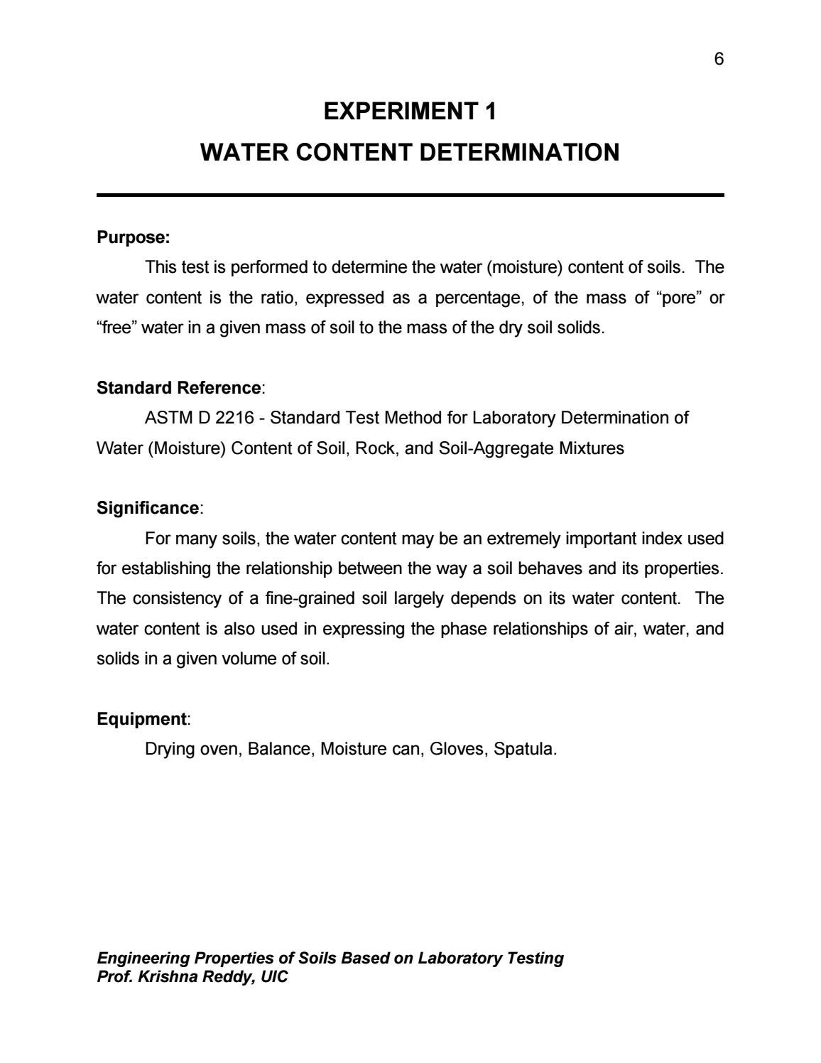 Experiment 1 Water Content By Jutamas