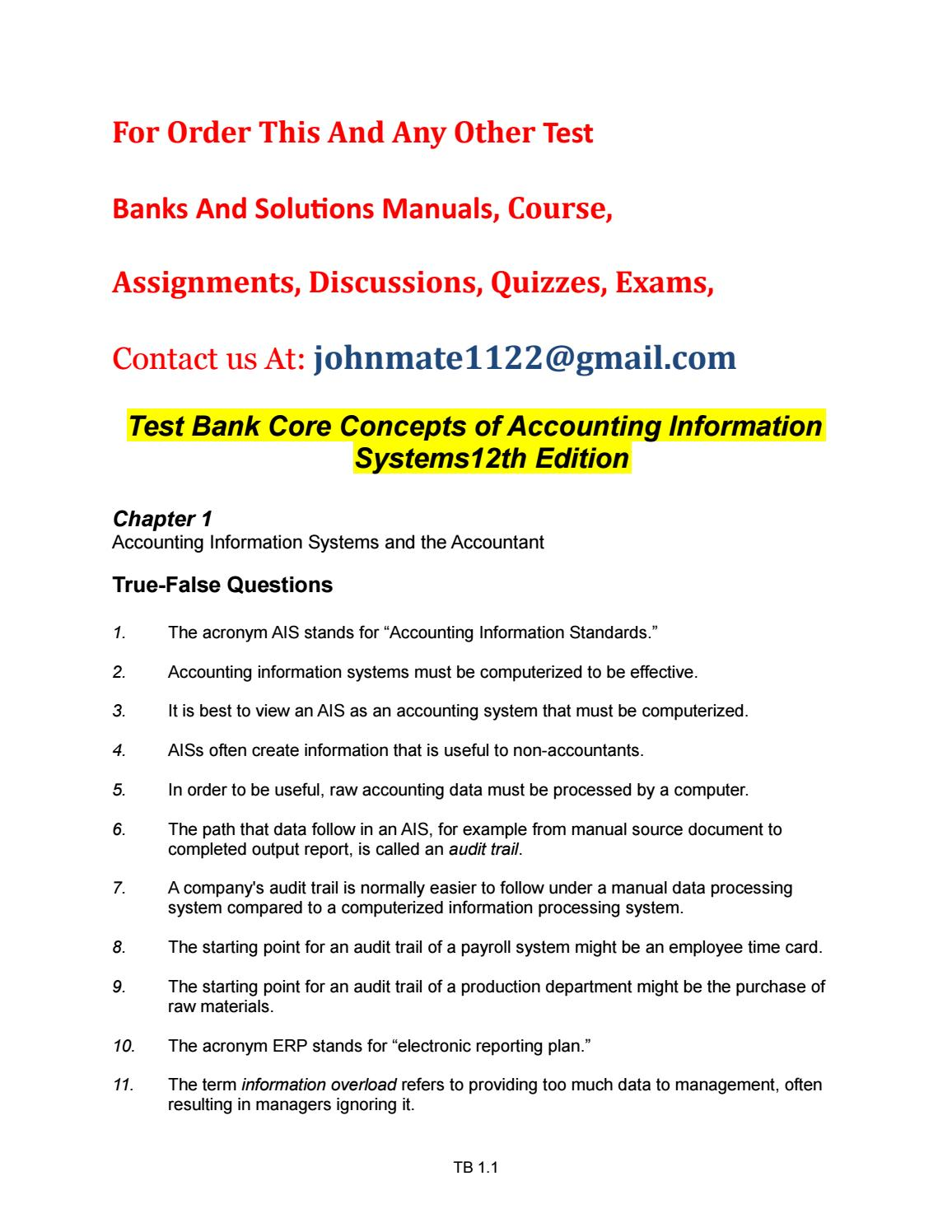 Test%20bank%20core%20concepts%20of%20accounting%20information%20systems12th%20edition  by JohnBauman - issuu