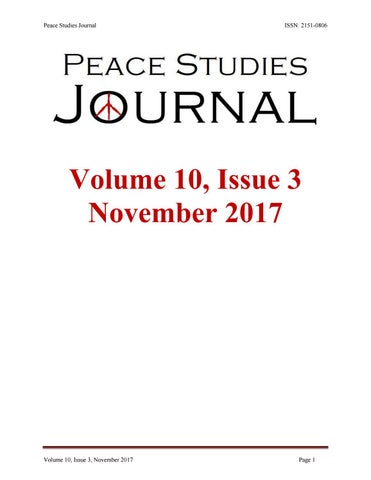 Peace Studies Journal Volume 10 Issue 3 November 2017 By ICAS Critical Animal