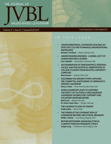 The Journal of Values-Based Leadership (Summer/Fall 2017) by ...
