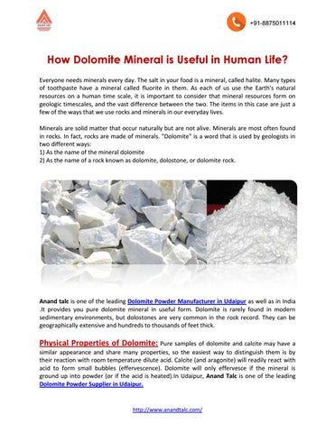 Importance of dolomite by anandtalc - issuu