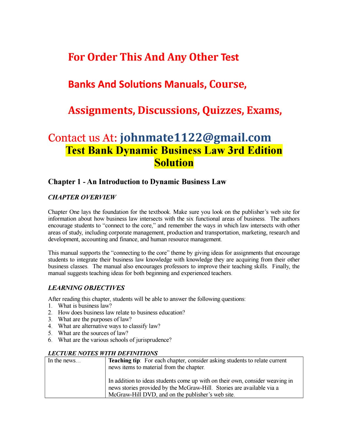 Test%20bank%20dynamic%20business%20law%203rd%20edition%20solution by