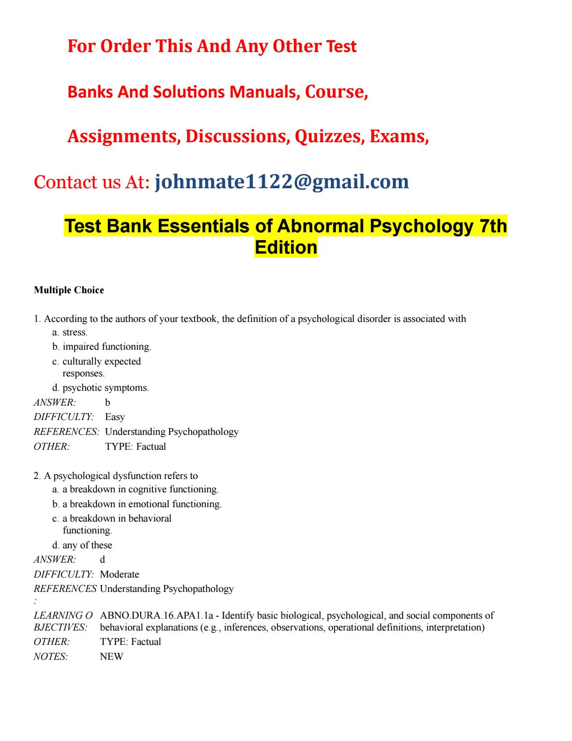 Test20bank20essentials20of20abnormal20psychology207th