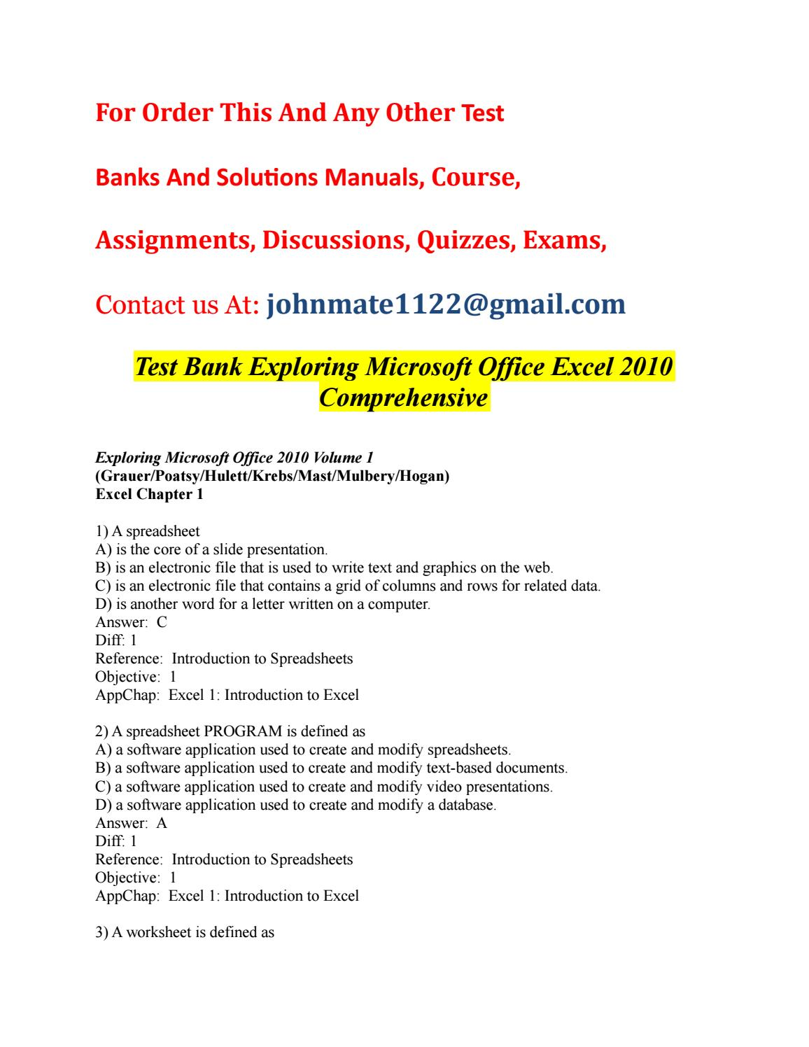 Test%20bank%20exploring%20microsoft%20office%20excel%202010 ...