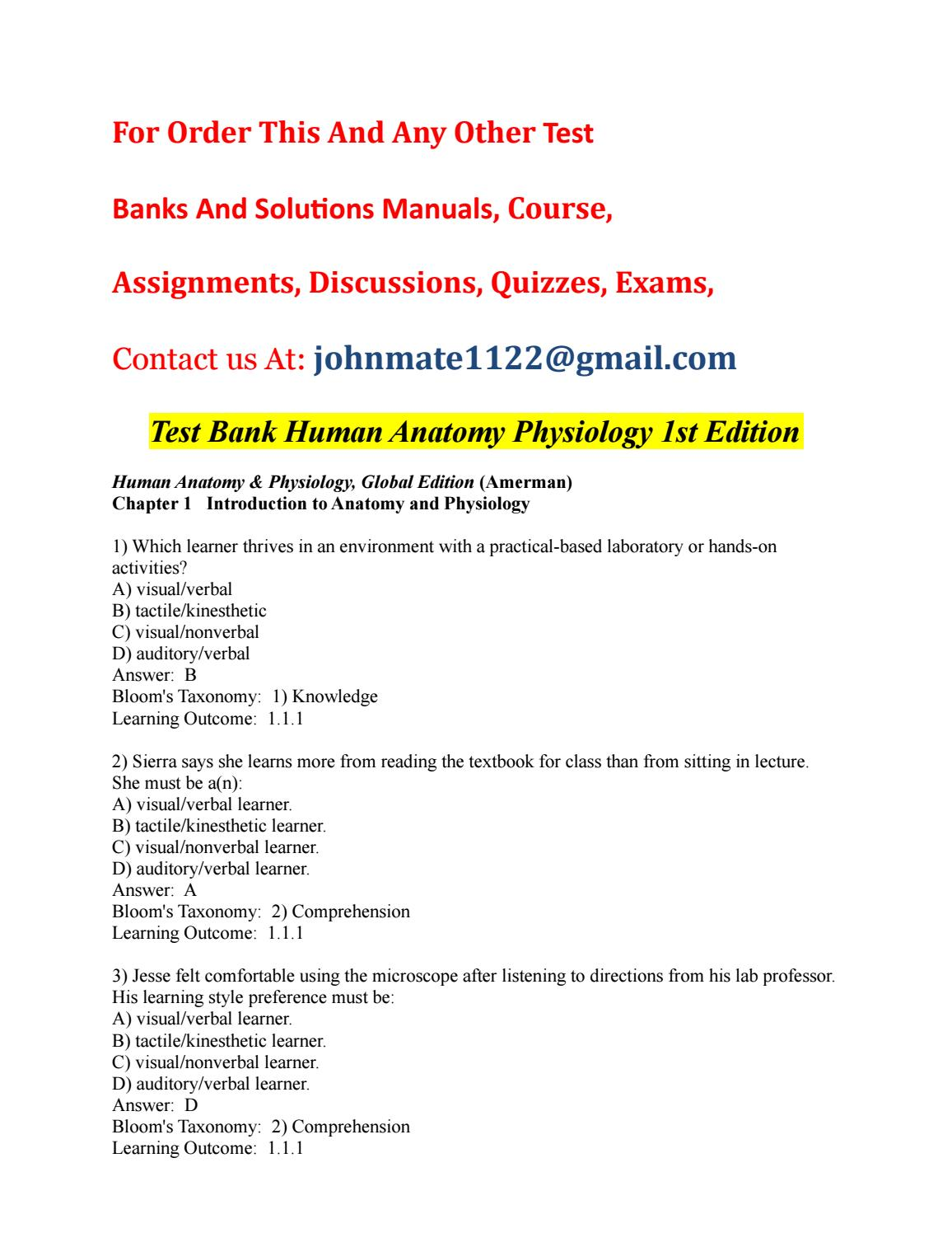 Test%20bank%20human%20anatomy%20physiology%201st%20edition by