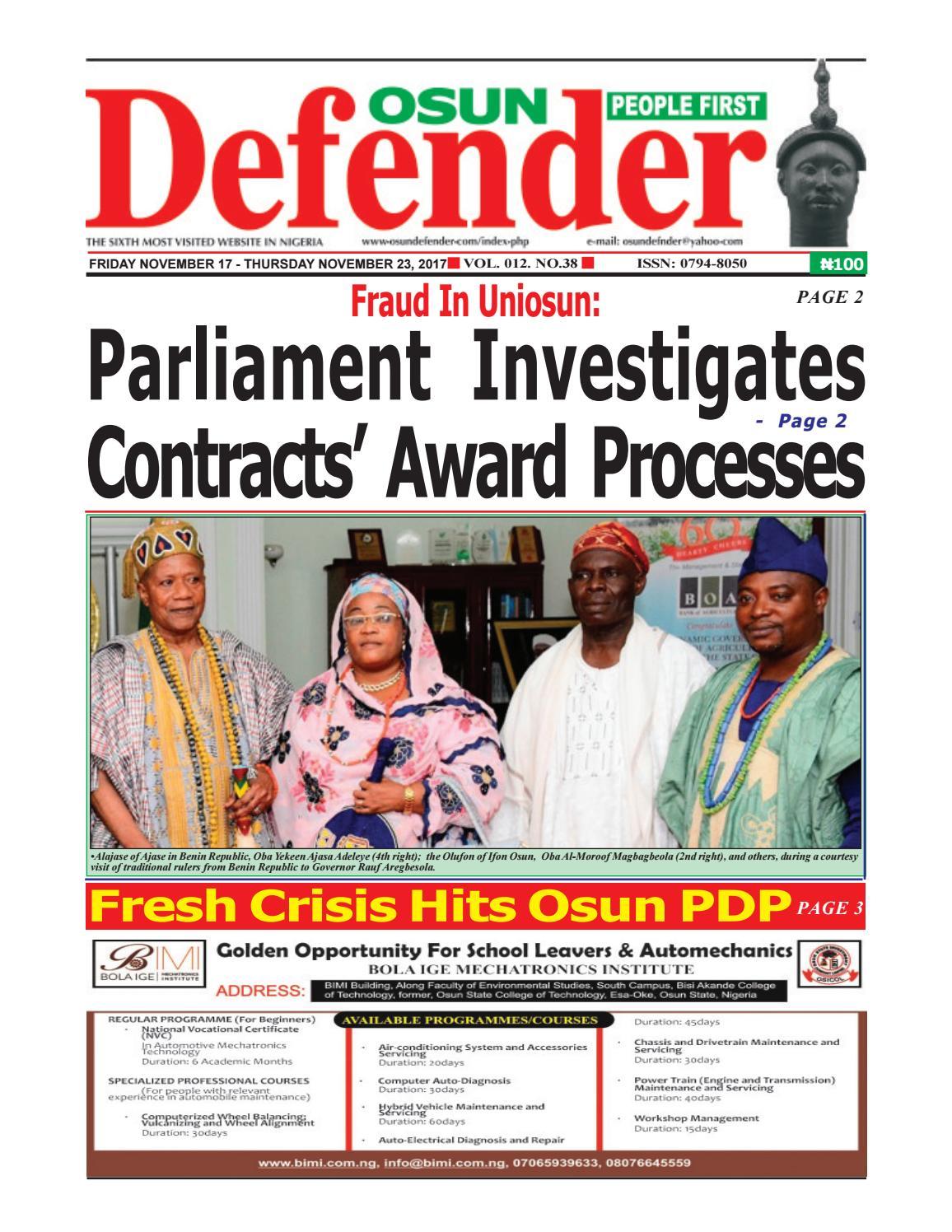 November 17, 2017 Pdf Version Of Osun Defender by