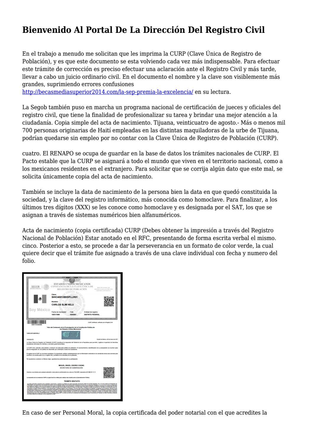 Bienvenido Al Portal De La Dirección Del Registro Civil... by ...