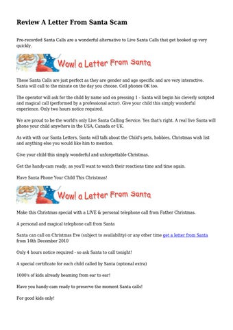 Review a letter from santa scam by angelpetrie065 issuu review a letter from santa scam pre recorded santa calls are a wonderful alternative to live santa calls that get booked up very quickly spiritdancerdesigns Images