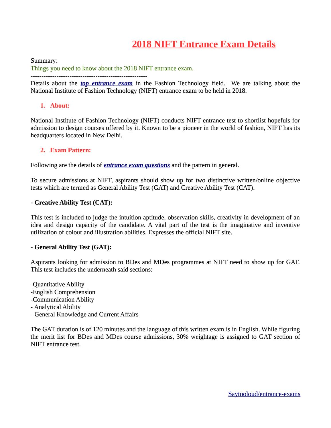 Nift Entrance Exam Details 2018 By Ashwini Sharma Issuu