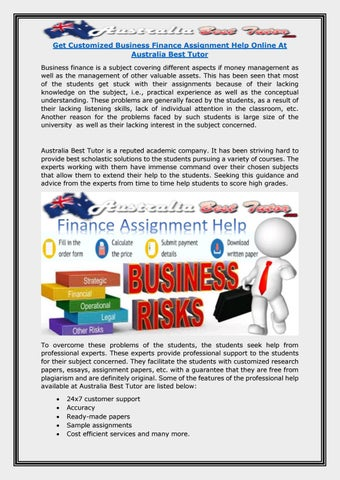 get customized business finance assignment help online at  get customized business finance assignment help online at best tutor business finance is a subject covering different aspects if money management