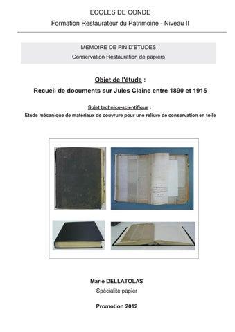 Marie DELLATOLAS Recueil De Documents Sur Jules Claine Entre 1890
