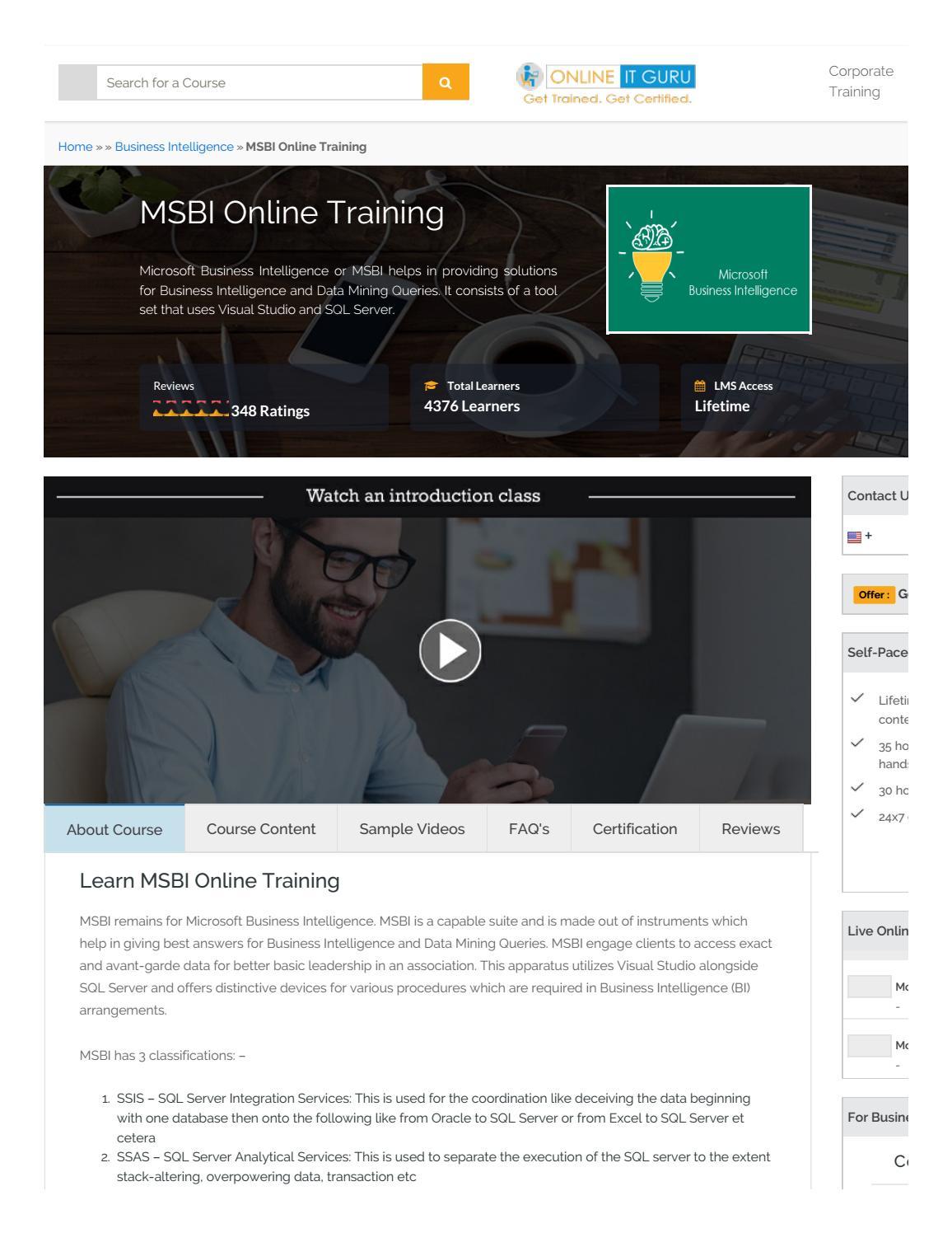 Msbi online training msbi online course in india online it