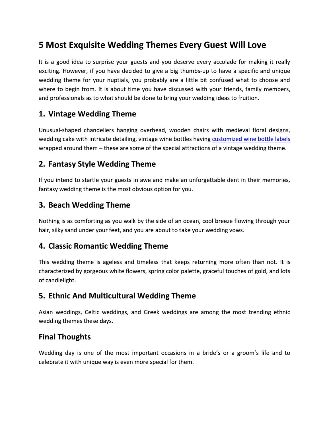 5 Most Exquisite Wedding Themes Every Guest Will Love By Carol Combs