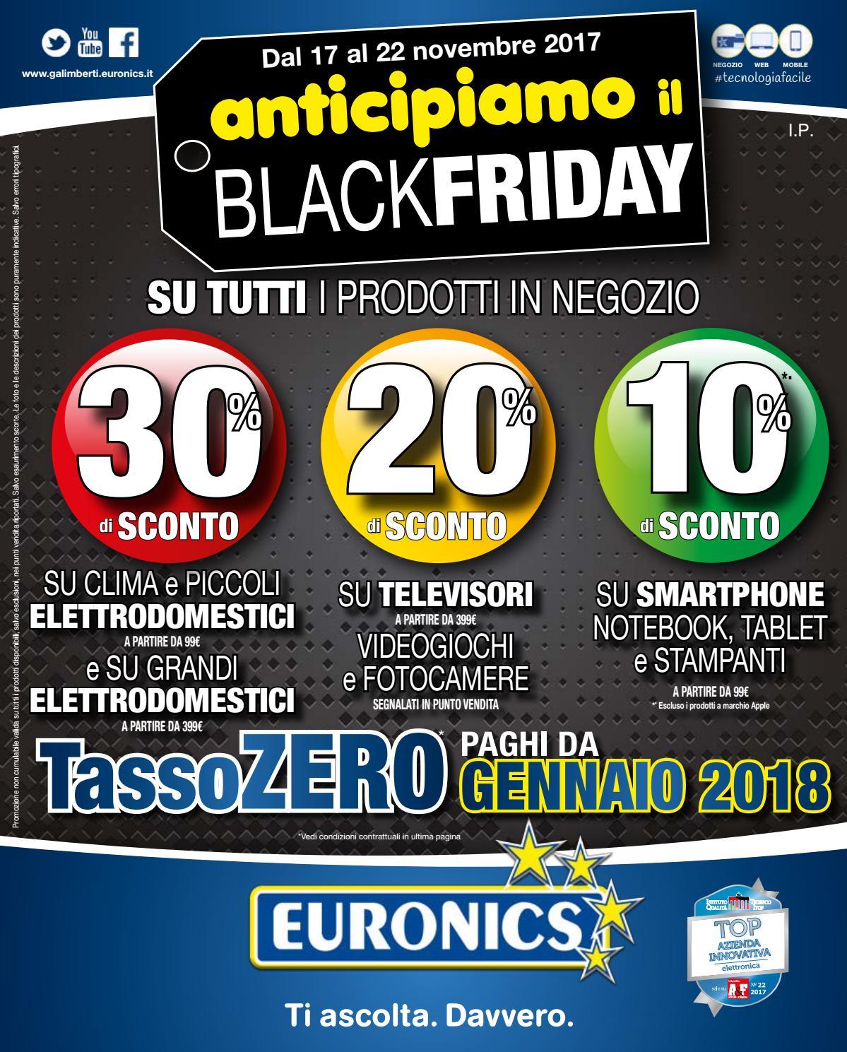 Galimberti anticipiamo il black friday by euronics italia for Black friday televisori