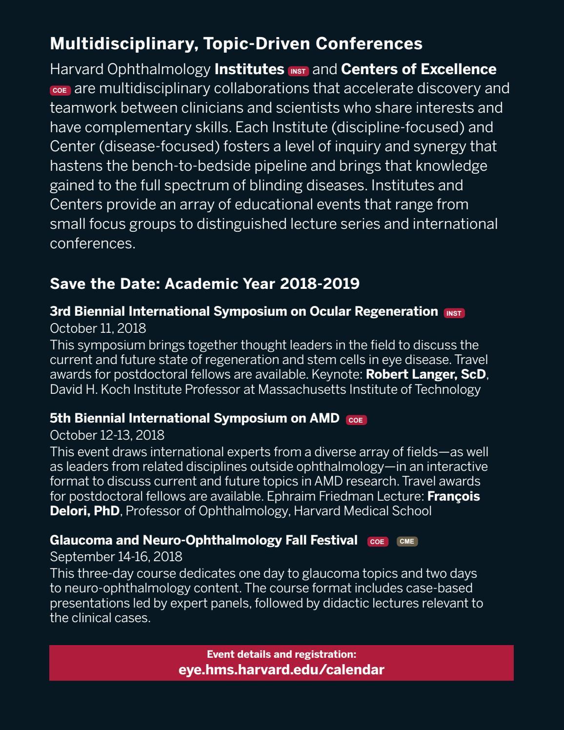 Harvard Ophthalmology Educational Calendar 2017-18 by