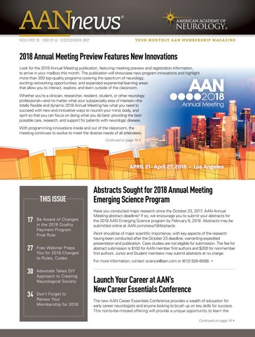 2017 Aan Annual Meeting Science Program By American Academy Of