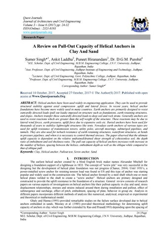 A Review on Pull-Out Capacity of Helical Anchors in Clay And