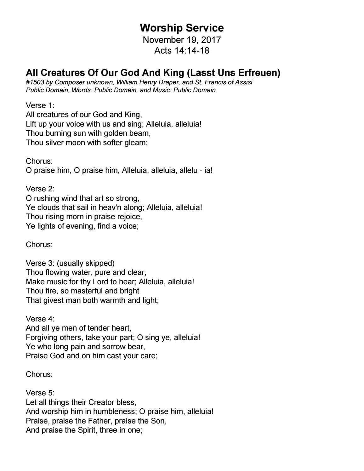 Song Lyrics For 111917 Liturgy By Trinity Presbyterian