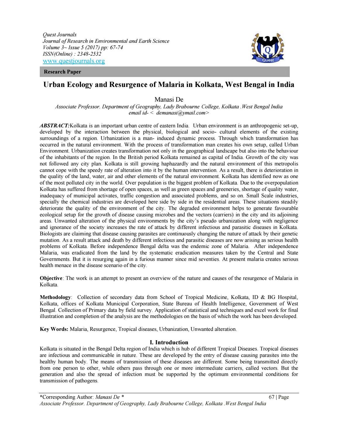 Urban Ecology and Resurgence of Malaria in Kolkata, West