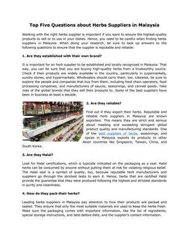 Top Five Questions about Herbs Suppliers in Malaysia by Hexa Food