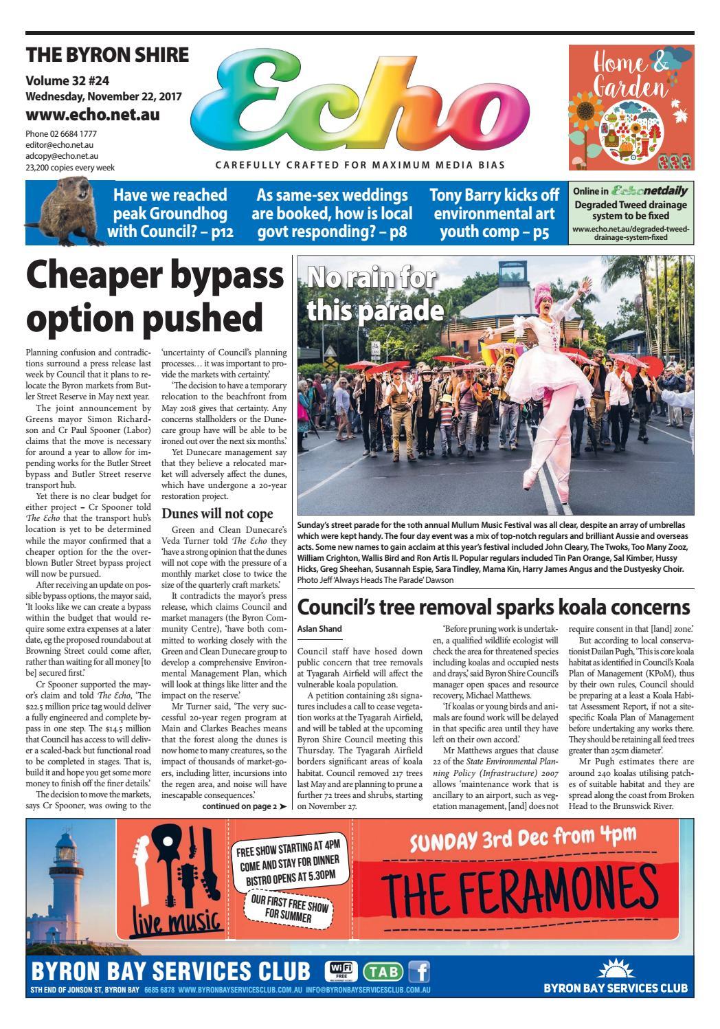 Byron Shire Echo – Issue 32.24 – 22/11/2017 by Echo Publications - issuu