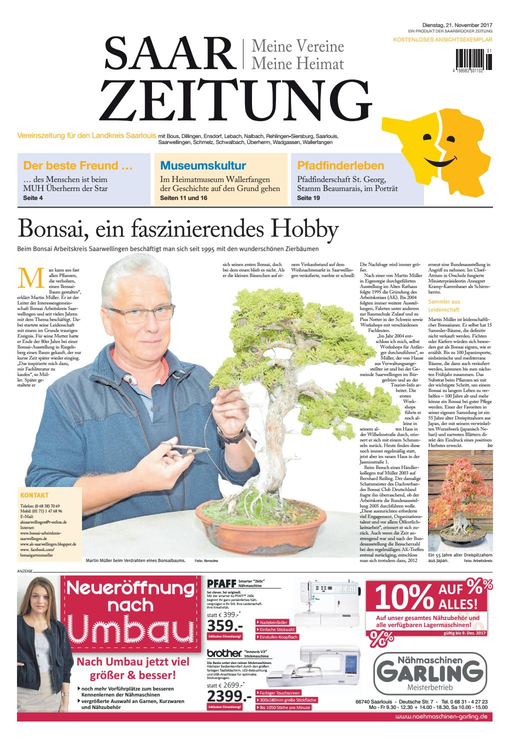 Saarzeitung Ausgabe Landkreis Saarlouis21 11 2017 By Saarbrucker Verlagsservice Gmbh Issuu