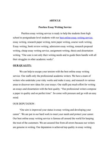 Peerless Essay Writing Service By Martinslee  Issuu  Peerless Essay Writing Service Is Ready To Help The Students From High  School To Postgraduate Level Students With Our Best Online Essay Writing  Service  Planwrite Business Plan Writer Deluxe also Science Essay Topic  High School English Essay Topics