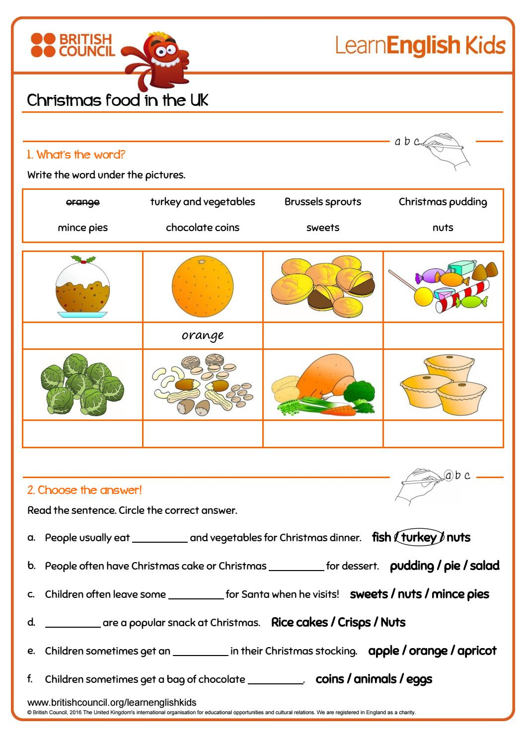 Worksheets christmas food in the uk by hikenNOeu Leto - issuu
