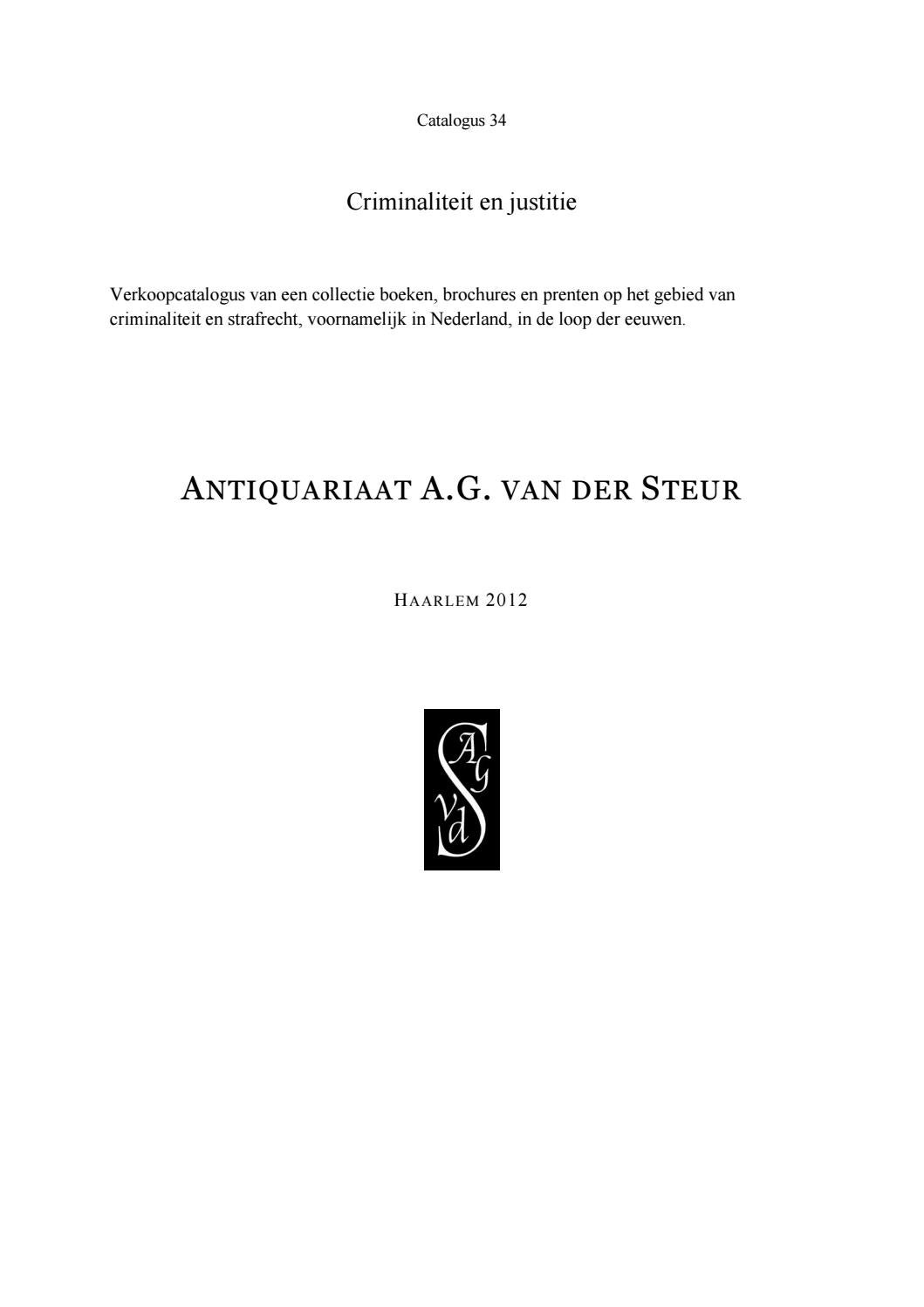 Catalogue 34: Criminaliteit en Justitie by Antiquariaat van der ...