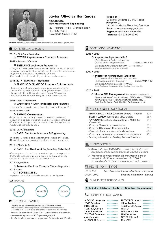 Javier Olivares Curriculum By Javier Olivares Hernández Issuu