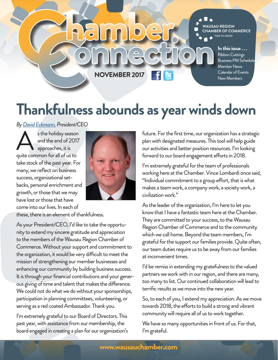 Chamber Connection November 2017 By Wausau Region