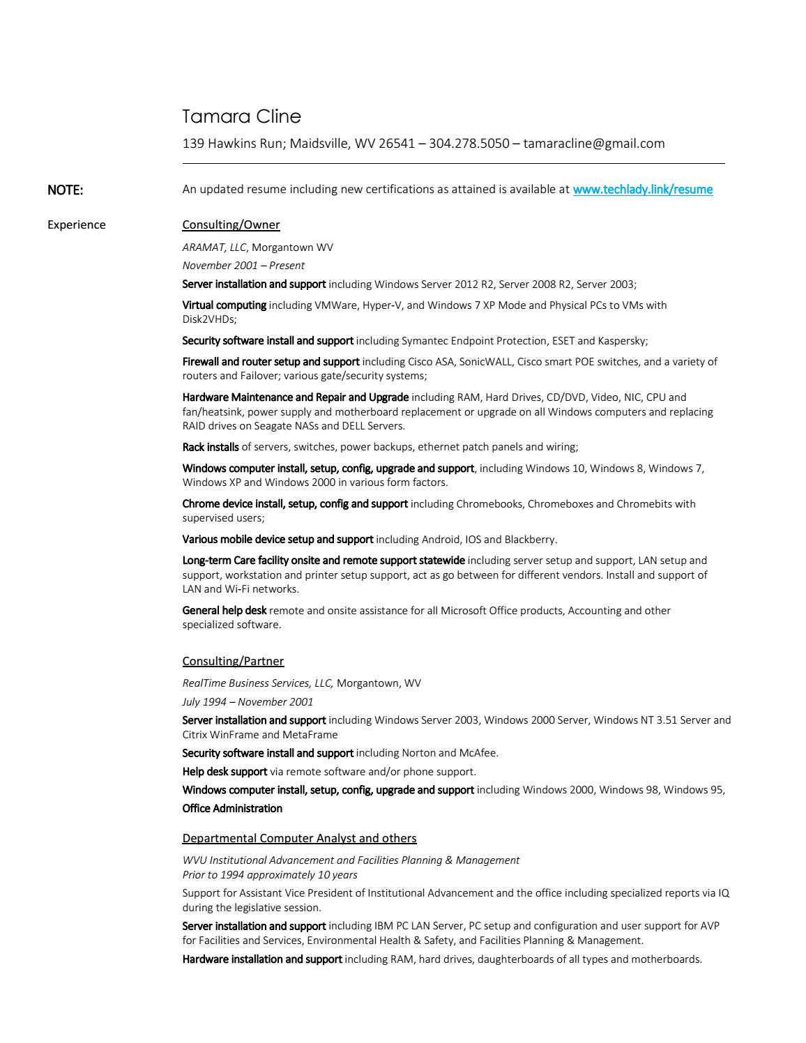 Website resume by Tamara Cline - issuu