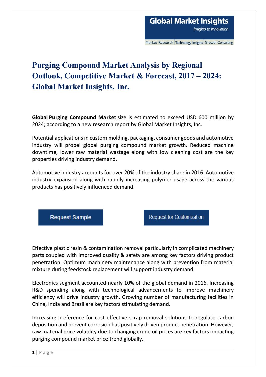 PDF for Purging Compound Market Analysis, ...