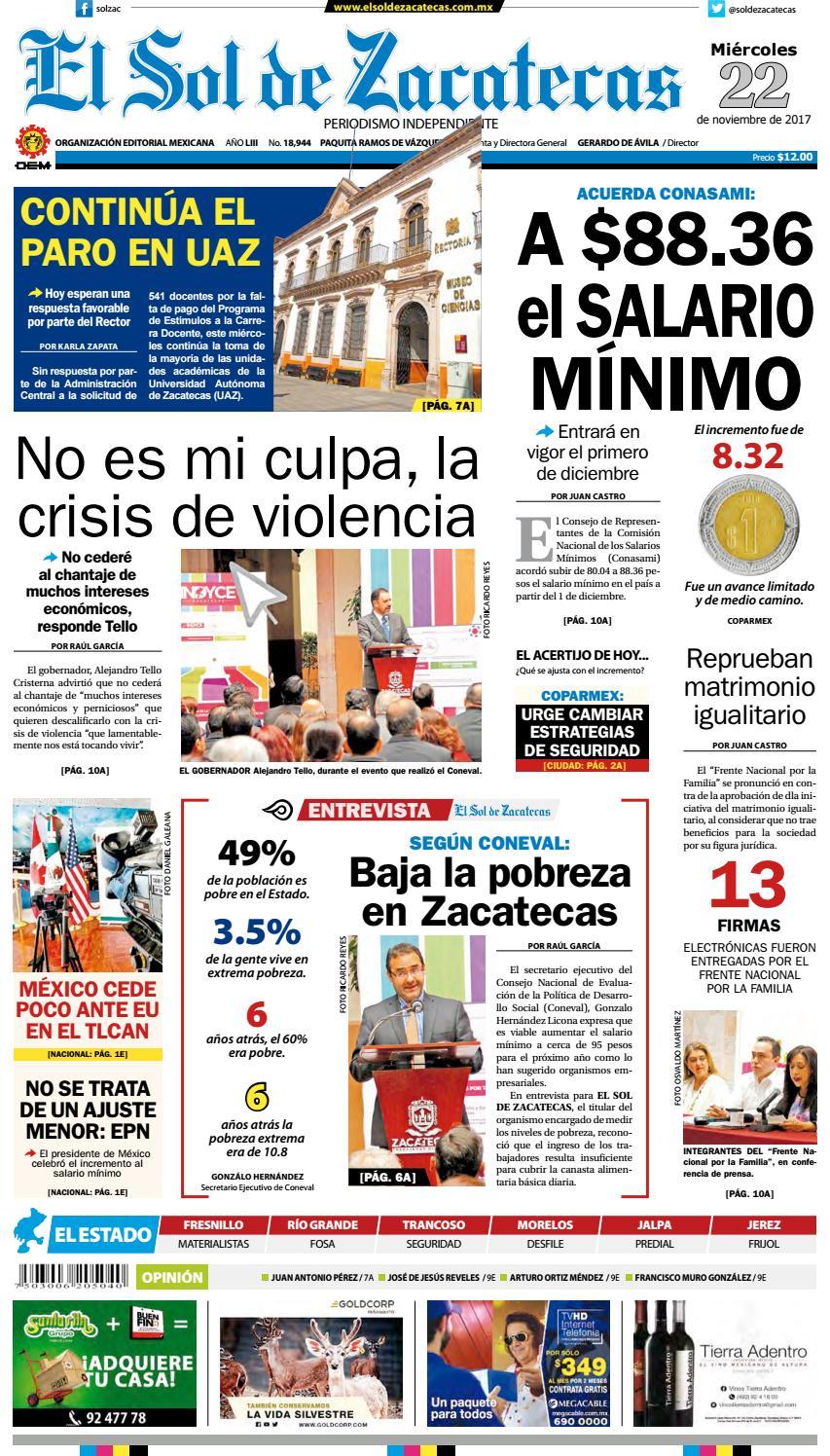 El Sol De Zacatecas 22 De Noviembre 2017 By El Sol De Zacatecas  # Muebles Mayoral Tonala