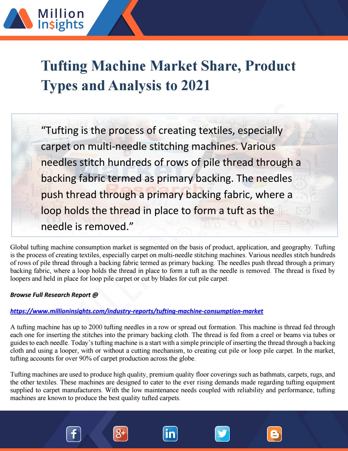 Tufting machine market share, product types and analysis to