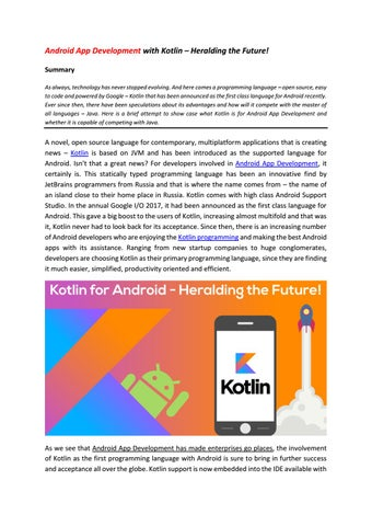 Android app development with kotlin heralding the future by SPEC