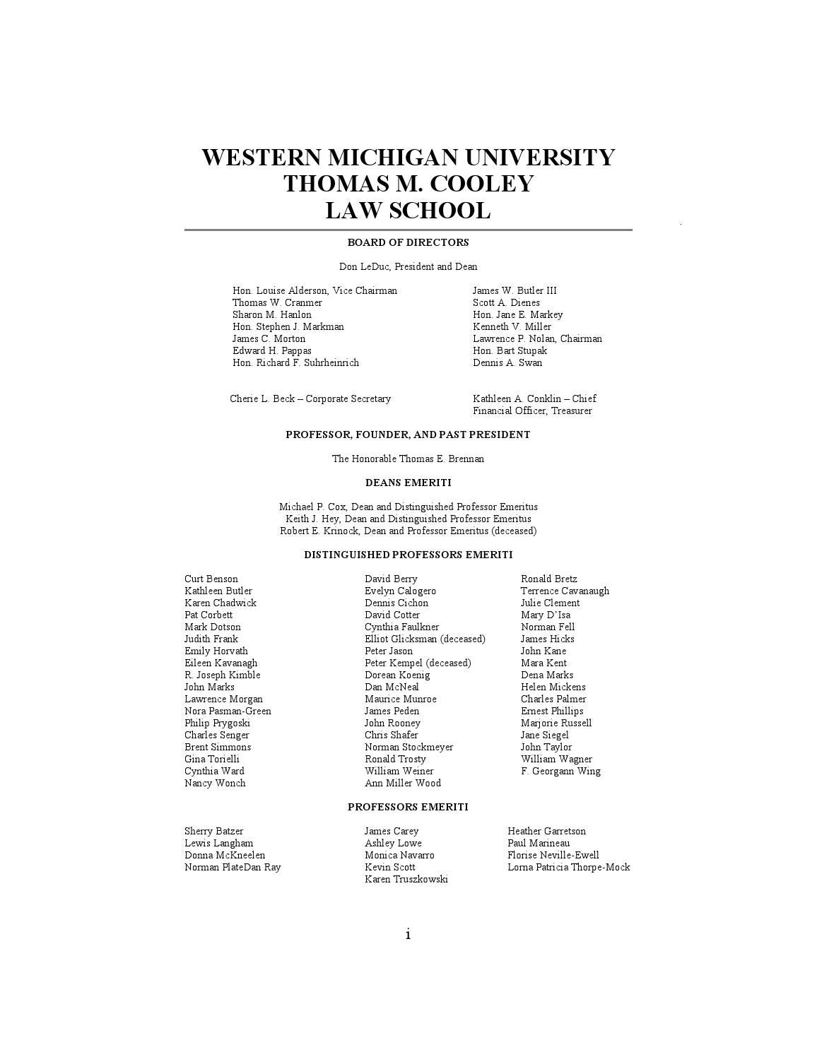 Western Michigan University Thomas M  Cooley Law Review