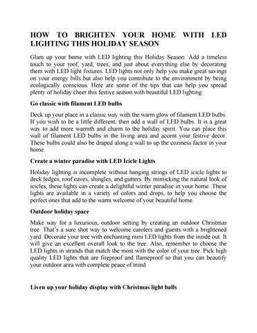 HOW TO BRIGHTEN YOUR HOME WITH LED LIGHTING THIS HOLIDAY