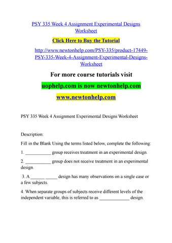 Psy 335 Week 4 Assignment Experimental Designs Worksheet By Lilly4v